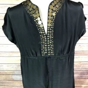 Michael Kors Black silk blouse shirt beaded top m